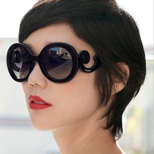 Authentic Prada baroque round sunglasses in black